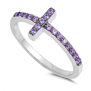 CHOOSE YOUR COLOR Sterling Silver Sideways Cross Ring