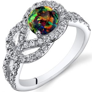 Created Black Opal Love Knot Ring Sterling Silver Sizes 5 to 9