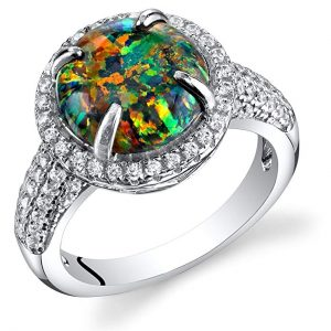 Created Black Opal Ring Sterling Silver Round Cabochon 1.50 Carats Sizes 5 to 9