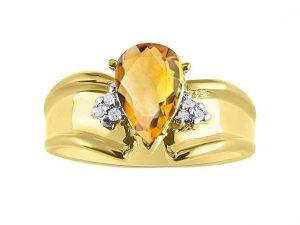 Diamond & Citrine Ring Set in 14K Yellow Gold