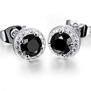 Dog Brother 18k Gold Plated Cubic Zirconia Halo Round Diamond Stud Earrings,3 Styles 8mm