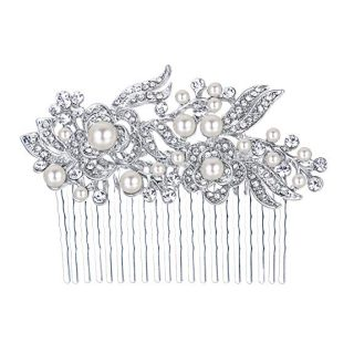EVER FAITH Austrian Crystal Cream Simulated Pearl Flower Leaf Vine Wedding Feast Hair Comb