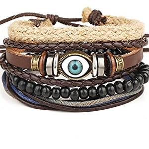 Edtoy Imitation Leather Eye-shaped Unisex Bracelet with Wooden Beads Black and Brown