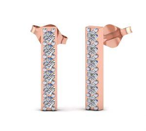 Fehu Jewel 1/6ct Natural Diamond 14k Gold Fashion Stud Bar Earrings Gift For Women