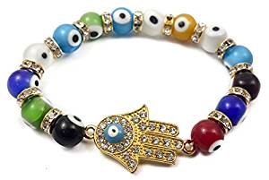 Hamsa Hand Bracelet Agate Crystals Colorful Evil Eye Beads Judaism Israel Luck Charm