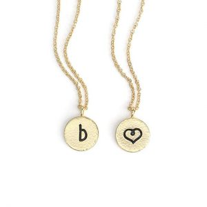 KISSPAT Xmas Gift 14K Gold Charm Initial Pendant Necklace Hammered Alphabet Jewelry for Women (26 Alphabets)