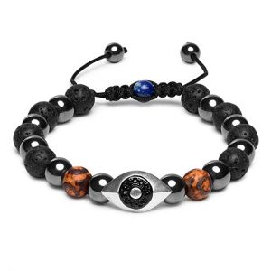 Karseer Hamsa Evil Eye Bracelet, Natural Hematite and Lava Rock Aromatherapy Essential Oil Diffuser Bracelet, Anti Anxiety Stress Relief Jewelry Gift