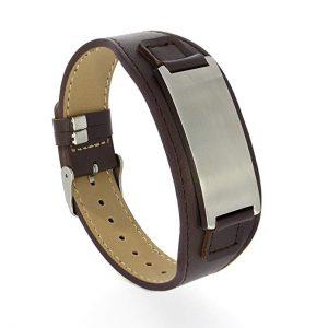 Kedar Personalize Engraved Brown Genuine Leather Bracelet for Men women,Custom Leather Free Engraving