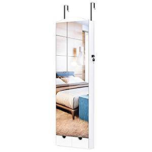 LANGRIA 10 LEDs Wall Door Mounted Jewelry Armoire with Full Length Mirror, Lockable Jewelry Cabinet Organizer with 2 Drawers, Mirror Size 14.4 x 41.5 in, White