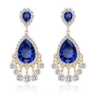 Lianjie Rhinestone Crystal Drop Earrings for Women Girls Teardrop Dangle Fashion Silver