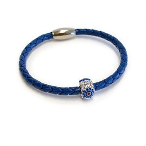 Liza Schwartz Jewelry Evil Eye Women's Premium Leather Bracelet, More Colors