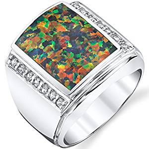 Men's Created Black Opal Aston Ring Sterling Silver Sizes 8 To 13
