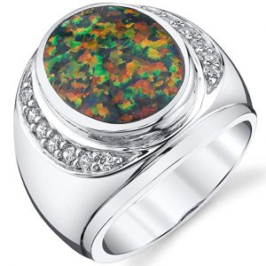 Men's Created Black Opal Godfather Ring Sterling Silver Sizes 8 To 13