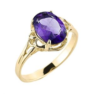 Modern Contemporary Rings Elegant 14k Yellow Gold February Birthstone Genuine Amethyst Gemstone Ring