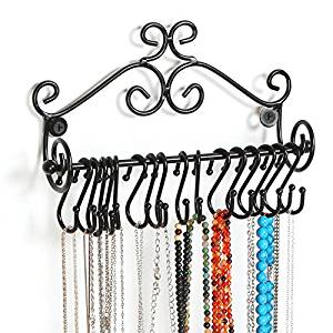 MyGift Wall Mounted Black Metal Scrollwork Design Jewelry Storage Organizer Rack w/ 20 Hanging S-Hooks
