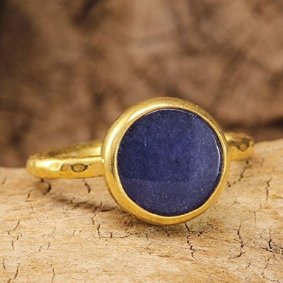 Natural Blue Jade Ring 24K Yellow Gold Vermeil 925 Solid Sterling Silver Handcrafted Artisan Hammered Ancient Roman Art Designer Gemstone Ring