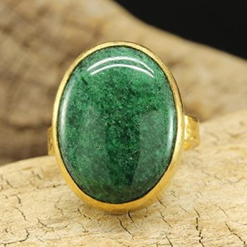 Natural Nephrite Green Jade Ring 925 Sterling Silver 24K Gold Vermeil Handcrafted Hammered Designer Roman Art Ring Gemstone Right Hand Large Ring