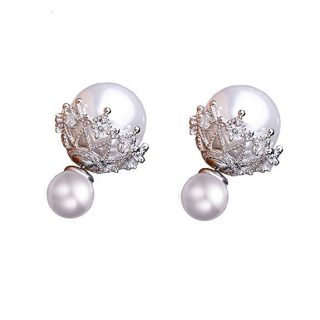 PLITI Double Sided Front Back Pearl Ball Studs Earrings Crystal Prom Wedding Jewelry Gift For Her