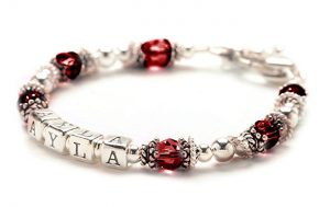 Personalized Baby Child Bracelet - Sterling Silver & July Birth Month Crystal