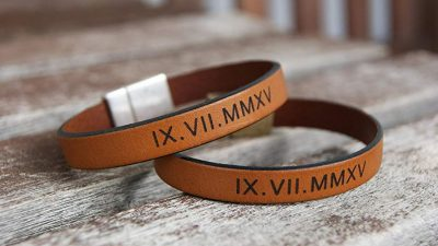 Personalized Leather Bracelets Set of 2 Matching Roman Numerals Coordinates Cuffs Couples Wedding Anniversary Gift