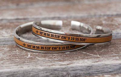 Personalized Matching Couples Bracelets Coordinate GPS Latitude Longitude Cuffs