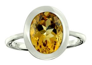 RB Gems Sterling Silver 925 Ring Genuine Gemstone Oval 10x8 mm with Rhodium-Plated Finish, Bezel-Setting