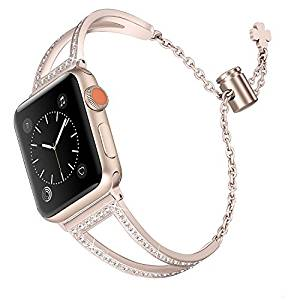 Secbolt Bling Bands Compatible Apple Watch Band 38mm 40mm Iwatch Series 4/3/2/1, Women Stainless Steel Metal Dress Jewelry Bracelet Bangle Wristband
