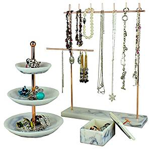 Set of 3 Rose Gold Jewelry Tower Tier Tray Stand - 3-Tier Jewelry Dish, Tower Rack, Jewelry Box, Marble