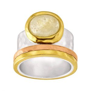 Silpada 'Metallic Mix' Natural Citrine Ring in Sterling Silver, Brass, Copper