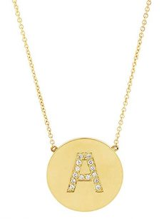Sterling Forever - .925 Sterling Silver with Gold Vermeil Plating CZ Round Initial Necklace