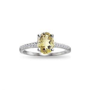 Sterling Silver Citrine and White Topaz Oval Crown Ring