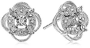 Sterling Silver Diamond Accent Pave Stud Earrings