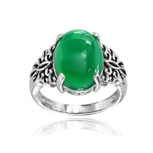 Sterling Silver Simulated Green Jade Oxidized Bali Inspired Filigree Oval Ring