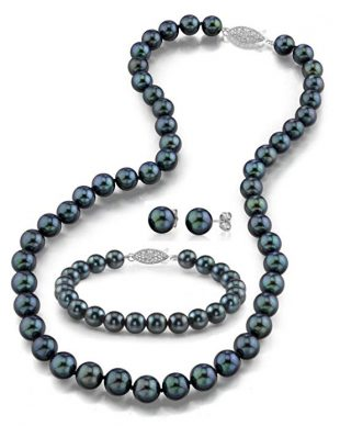 "THE PEARL SOURCE 14K Gold Round Black Akoya Cultured Pearl Necklace, Bracelet & Earrings Set in 18"" Princess Length for Women"