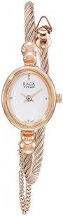 Titan Women's Raga Gold Metal Jewellery Bangle Design, Bracelet Clasp, Quartz Glass, Water Resistant Analog Wrist Watch