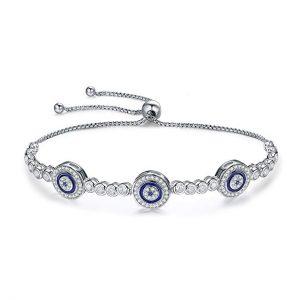 WOSTU Mother's Day Bracelets for Women Girls 925 Sterling Silver Cubic Zirconia Evil Eye Tennis Bracelets