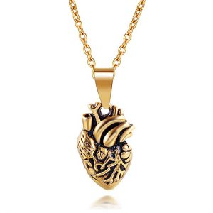 Ztuo Stainless Steel Anatomical Heart Necklace Human Organ Heart Felt Pendant for Women Men Gold/Silver