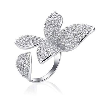 dnswez 2 Finger Ring Flower Open Cubic Zirconia Sparkly CZ Silver Cluster Cocktails Enage Statement Rings for Women Girl Adjustable Size
