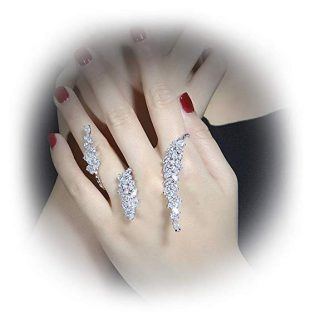 dnswez Unique CZ Cluster Palm Cuff Multiple 2 Finger Rings Hand Prom Jewelry for Women