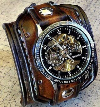 teampunk Leather Wrist Watch, Skeleton Men's watch, Aged brown Leather Cuff, Bracelet Watch, Watch Cuff