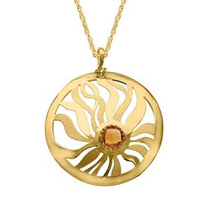 1 3 4 ct Natural Citrine Medallion Pendant Necklace in 14K Gold
