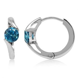 1.24ct. 5MM Genuine London Blue Topaz White Gold Plated 925 Sterling Silver Huggie/Hoop Earrings