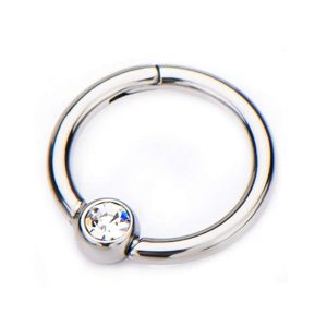 16G CZ Crystal Centered Stainless Steel Hinged Segment Ring for Septum, Nostril, Lip, and Ear Piercings - Available in Multiple Sizes