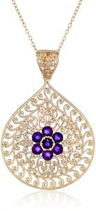 18k Yellow Gold Plated Gemstone Flower Filigree Teardrop Pendant Necklace, 18""