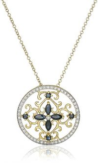 18k Yellow Gold Plated Gemstone and Diamond Accent Filigree Medallion Pendant Necklace, 18""