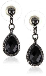 1928 Jewelry Black Victorian Inspired Petite Teardrop Earrings