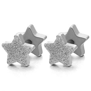 2pcs Satin Finished Pentagram Star Screw Stud Earrings for Men Women, Steel Cheater Fake Ear Plugs,