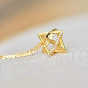 3D Geometric Star Necklace Sterling Silver 925 in Gold Finish