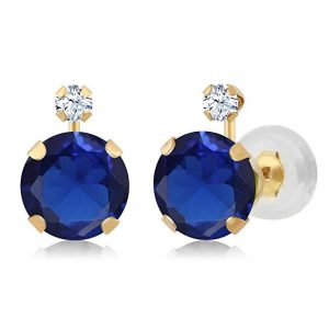 14K Yellow Gold Blue Simulated & White Created Sapphire Earrings