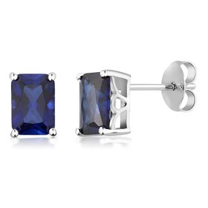 925 Sterling Silver Simulated Blue Sapphire Studs